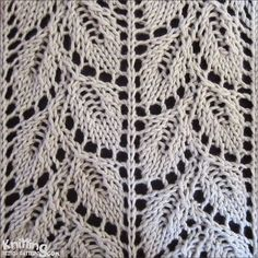 Drooping Elm Leaf stitch   |  knittingstitchpatterns.com