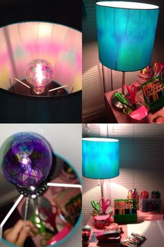 So I saw this idea and had to try it! All you need to do is buy a clear lightbulb and draw a design on it with sharpie. Use bright colored sharpies(they show up the best) and make your design cover most of the bulb. Depending on the color of your lampshade your walls might have the decoration on them but if it is a darker color like mine then it won't show through as much. ;)