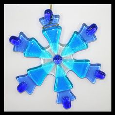 Items similar to Glassworks Northwest - Blue Snowflake - Fused Glass Ornament on Etsy