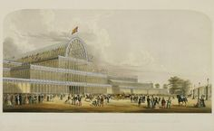 External View of the Transept of the Crystal Palace from the Prince of Wales Gate. Building at left with, in the foreground, a variety of visitors to the Exhibition including piemen selling pies, a Beefeater from the Tower of London, and sailors on shore leave.