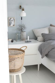 Simplicity …… white and pastell bedroom # schlafzimmer # blue # blau # scandinavian # decoration # interior Vintage Bedroom Decor, Romantic Bedroom Decor, Modern Bedroom, Blue Rooms, Blue Bedroom, Pastel Bedroom, Bedroom Color Schemes, Bedroom Colors, Bedroom Ideas
