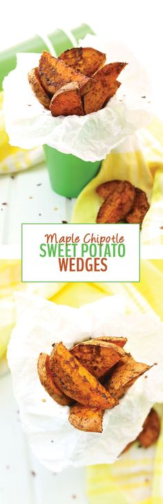 These sweet and savory Maple Chipotle Sweet Potato Wedges are your ...
