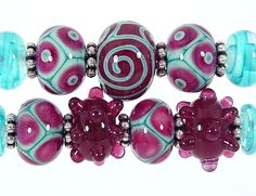 Raspberry and Turquoise Lampwork Bead Set Made to Order (11) Sharpline Designs SRA