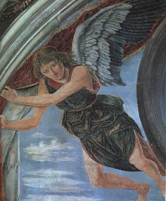 Antonio del Pollaiuolo, Angel (detail), fresco, San Miniato al Monte, Florence This angel is on the altar wall of the Chapel of the Cardinal of Portugal. Tempera, Fresco, Italian Renaissance Art, Web Gallery Of Art, John William Waterhouse, Italian Painters, Mural Painting, Oil Paintings, European Paintings