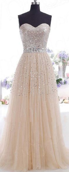 A-Line Sweetheart Beaded Tulle Long Prom Evening Formal Dresses