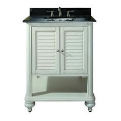 25 Inch Single Sink Bathroom Vanity with Antique White Finish and Choice of Top