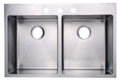"""fluid Thin Line Kitchen Sink - Model TDR3322 Top Mount Double Bowl Tight Radius Kitchen Sink.  Overall Dimensions: 32"""" (813mm) X 22"""" (559mm) X 9"""" (229mm). One or three tapholes...."""