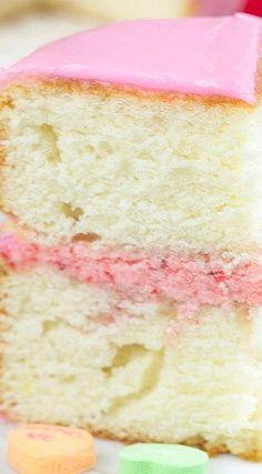Strawberry Almond Heart Cake