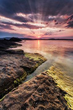 sunset, Black Sea, Bulgaria