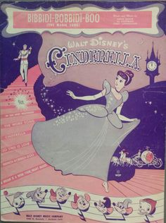 Cinderella, 1948, Bibbidi Bobbidi Boo, Walt Disney, Vintage Sheet Music, Antique, Illustration, Cinderella, Prince Charming