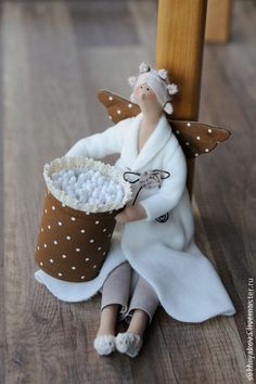 "Куклы Тильды ручной работы. Ярмарка Мастеров - ручная работа Банный ангел ""Coffee time"". Handmade."