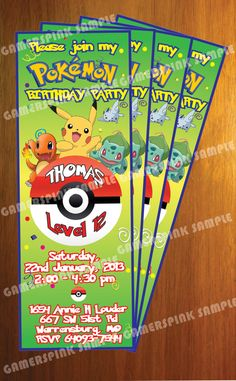 Pokemon Personalized Birthday Party Invitation