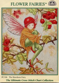 Cross stitch - fairies: Hawthorn fairy - Cicely Mary Barker (free pattern with chart)