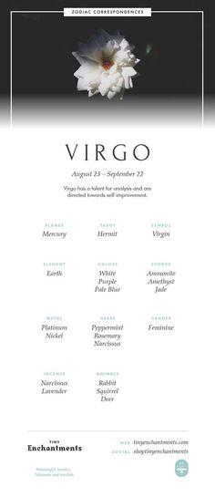 Virgo Zodiac Sign Correspondences - Virgo Personality, Virgo Symbol, Virgo Mythology and Virgo Meaning Full Infographic: zodiac, astrology, horoscopes, magic, wicca, occult, witchy, witchcraft, pagan, shaman, magick, aries, taurus, gemini, cancer, leo, virgo, libra, scorpio, sagittarius, capricorn, aquarius, pisces