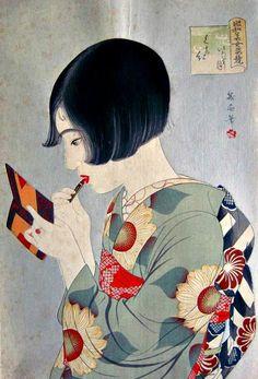 """""""Kuchibeni"""" (1920), un grabado de la serie """"Competición de Bellezas Showa"""" de Watanabe Ikuharu (1895-1975)."""