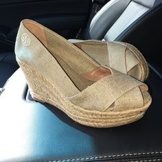 Tory Burch wedges Adorable worn one time so like new Tory Burch Shoes Wedges