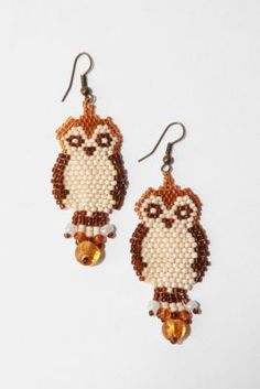 free Seed Bead Earring Patterns - works for cross stich, too! Beaded Earrings Patterns, Jewelry Patterns, Beading Patterns, Free Seed Bead Patterns, Bracelet Patterns, Seed Bead Jewelry, Seed Bead Earrings, Owl Earrings, Seed Beads