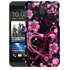 HTC Desire 610 Sketch Hearts Pink on Black Slim Case