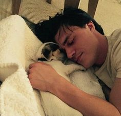 "Finn + Puppy + Snuggles = Collective ""AWWW"". Finn Wittrock and Zeke via Instagram"