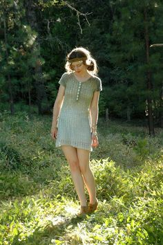 Cotton Crochet Mini Dress.... Hand Dyed... by AstralBoutique, $38.00