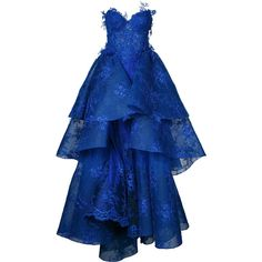 Nedret Taciroglu Couture strapless ball gown (€15.720) ❤ liked on Polyvore featuring dresses, gowns, blue, silk evening gowns, strapless evening gown, silk dress, blue evening gown and blue strapless dress