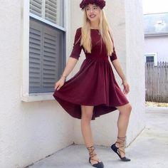 #ootd #dress #burgandy #flowercrown #flats #laceupflats #burgandydress