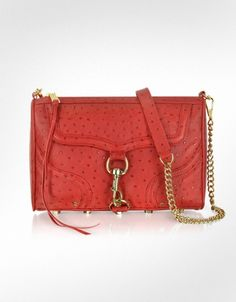 Rebecca Minkoff MAC - Bombe Ostrich-Embossed Leather Clutch/Shoulder Bag ( I am soooo into Ostrich....)
