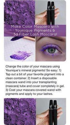 How cool is this?? Create your own custom color 3D lashes!! With your choice of 32 mineral pigment powders, there is no limit to your creativity. www.youniqueproducts.com/Kimberleyc
