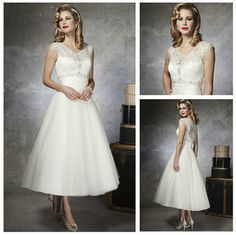See Through Backl V-neckline Ivory Tulle Lace Tea Length Wedding Dress 2013