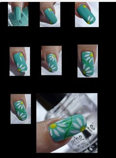 How to do daisies on nails step by step