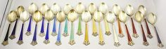 Silver, Gold, Enamel, coffee spoons -- Fit for a Queen.....  I have very similar ones that were my great grandmothers.