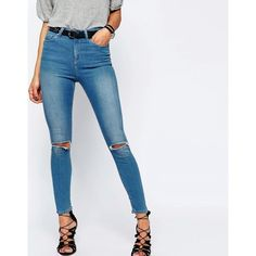 ASOS RIDLEY Skinny Ankle Grazer Jeans in Orchid Rich Blue Wash With... ($49) ❤ liked on Polyvore featuring jeans, orchidlightblue, ripped skinny jeans, high-waisted jeans, high waisted distressed jeans, high waisted ripped jeans and super skinny jeans
