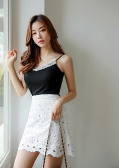 Korean Women`s Fashion Shopping Mall, Styleonme. Korean Girl Fashion, Womens Fashion For Work, Asian Fashion, Fashion Beauty, Fashion Poses, Women's Fashion Dresses, Sexy Dresses, Casual Dresses, Girls In Mini Skirts
