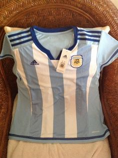 Adidas argentina national team futbol soccer jersey/shirt new with tags size L womens 20 inches armpit to armpit 27 inches Lenght | eBay!