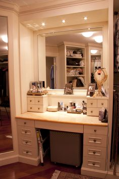 Master Walk-In Closet ~ Make-Up Table  This definitely has to happen. I buy a ridiculous amount of girly stuff and if I were rich, it would be so much worse.