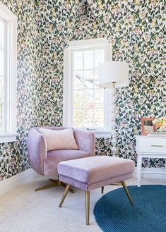 A Romantic Glam Bedroom Makeover With Opalhouse By Target - Emily Henderson Glam Bedroom, Bedroom Vintage, Bedroom Decor, Interior Color Schemes, Decor Interior Design, Beautiful Interiors, Colorful Interiors, Velvet Armchair, Velvet Chairs