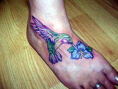 Attractive Hummingbird n Blue Flower Tattoo On Right Foot photo - 1