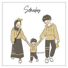Bismillah Umik Baby K dan Abi. Chibi Couple, Couple Cartoon, Cute Muslim Couples, Cute Anime Couples, Best Facebook Profile Picture, Islamic Cartoon, Family Drawing, Anime Muslim, Hijab Cartoon