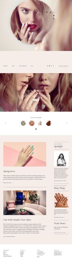 Flat Design Website; Example;  Category: Inspiration; Name Website: Paintbox; Type Website: A Modern Manicure Studio; Pastel Tone.