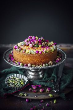 Rosewater Semolina Cake - Rosewater and Pistachios are a match made in Heaven. A combination that is fragrant, rich and unique. : Sugar et al Baking Recipes, Cake Recipes, Dessert Recipes, Cupcakes, Cupcake Cakes, Semolina Cake, Cupcake Collection, Pistachio Cake, Un Cake