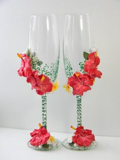 Wedding Glasses, Hawaii Wedding, Wedding toasting flutes,Champagne glasses,Tropical Wedding,Beach Wedding,Floral Wedding, Hibiscus, Plumeria by DecorEvgenia on Etsy