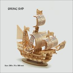 Laser Cutting DIY Sailing Ship Toys Wooden Puzzle Toy Assembly Model Wood Craft Kits Desk Decoration for Children Kids - Ziloqa Store Wooden Decor, Wooden Crafts, Wooden Diy, Diy And Crafts, Diy Wood, Laser Cutter Ideas, Laser Cutter Projects, Puzzles 3d, Wooden Puzzles