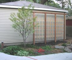 Trellis next to garage