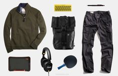 Fall semester essentials to get you through midterms in style. Jawbone Mini Jambox ($110). French Terry Half-Zip Fleece ($90). Todd Snyder Black Infantry Cargo Pant ($295). The Vandal Backpack - Mission Workshop ($295). Killerspin Jet200 Table Tennis Paddle ($30). Sync 9.7 LCD eWriter ($83). Rotoring 800+ Mechanical Pencil and Stylus Hybrid ($65). Marshall Monitor Headphones ($134).