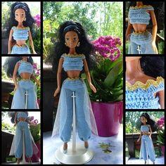 Crochet Barbie Clothes, Crochet Dolls, Doll Clothes, Barbie Style, Barbie Princesse Disney, Barbie And Ken, Barbie Dolls, Fashion Dolls, Fashion Outfits