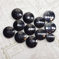 15mm 18mm Iridescent Faceted Domed Buttons Glass Style 6 x 13mm