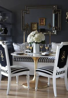 Today I'm loving stripes - they add nautical style and a touch of glam to this glam dining room {inspired wives}