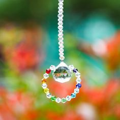 Suncather Ball Clear Crystal Prisms Pendant Wedding Party Gift Window Decoration for sale online Crystal Flower, Crystal Ball, Crystal Pendant, Clear Crystal, Quartz Crystal, Gifts For Wedding Party, Hanging Ornaments, Healing Stones, Suncatchers