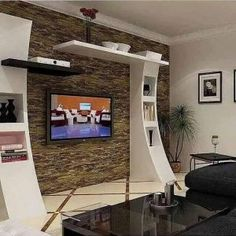 interior project in kolkata modern living room by estate lookup int. -Contemporary interior project in kolkata modern living room by estate lookup int. - Here you will find photos of interior design ideas. Get inspired! Tv Unit Design, Tv Wall Design, Design Case, House Design, Tv Design, Design Ideas, Living Room Interior, Room Interior Design, Living Room Tv Unit