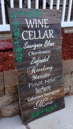 Wine Cellar Pallet Reclaimed Wood Sign Types by OurCountryDesigns